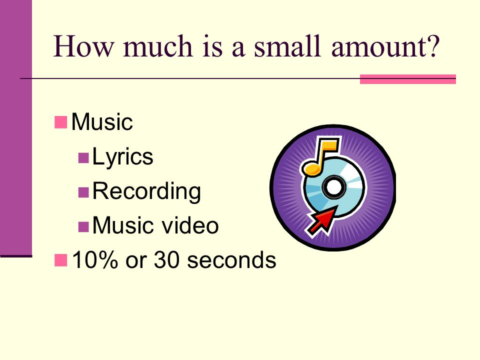 How much is a small amount Music Lyrics Recording Music video 10% or 30 seconds