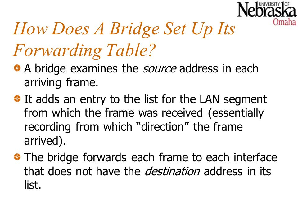 How Does A Bridge Set Up Its Forwarding Table.