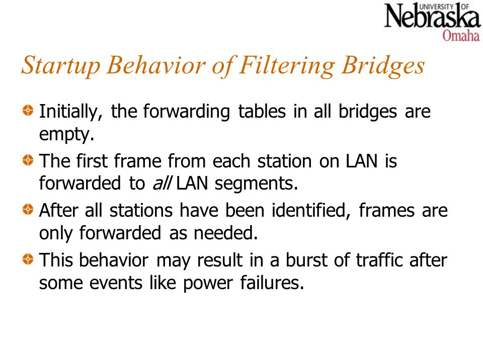 Startup Behavior of Filtering Bridges Initially, the forwarding tables in all bridges are empty.