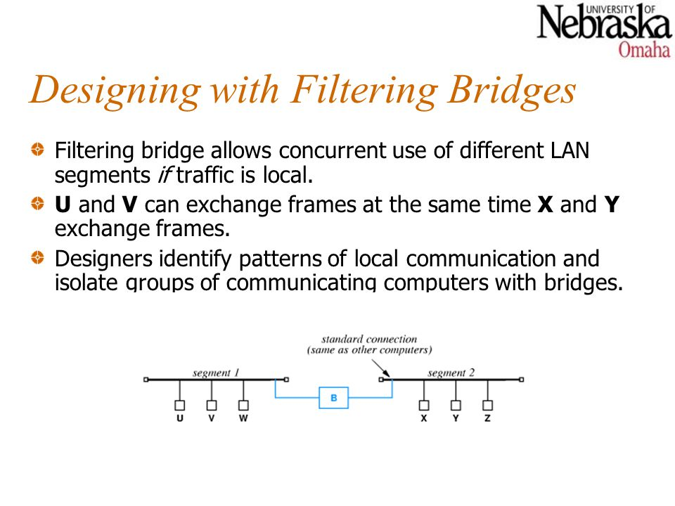 Designing with Filtering Bridges Filtering bridge allows concurrent use of different LAN segments if traffic is local.