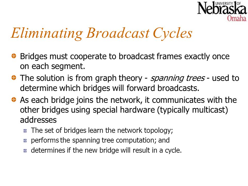 Eliminating Broadcast Cycles Bridges must cooperate to broadcast frames exactly once on each segment.