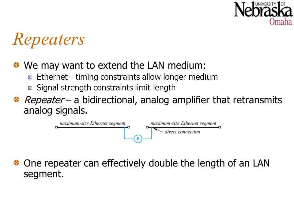 Repeaters We may want to extend the LAN medium: Ethernet - timing constraints allow longer medium Signal strength constraints limit length Repeater – a bidirectional, analog amplifier that retransmits analog signals.