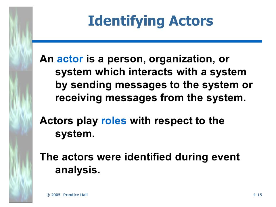 © 2005 Prentice Hall4-15 Identifying Actors An actor is a person, organization, or system which interacts with a system by sending messages to the system or receiving messages from the system.