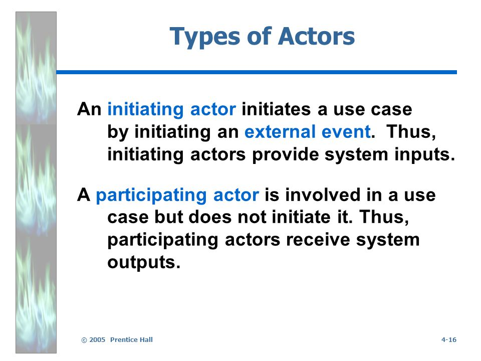 © 2005 Prentice Hall4-16 Types of Actors An initiating actor initiates a use case by initiating an external event.