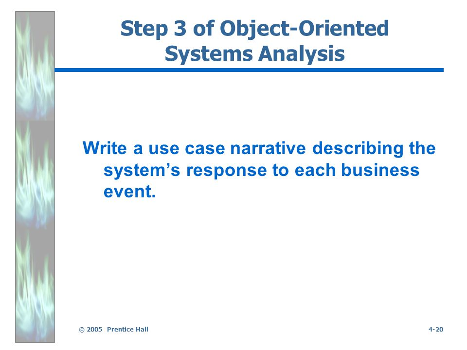 © 2005 Prentice Hall4-20 Step 3 of Object-Oriented Systems Analysis Write a use case narrative describing the system's response to each business event.