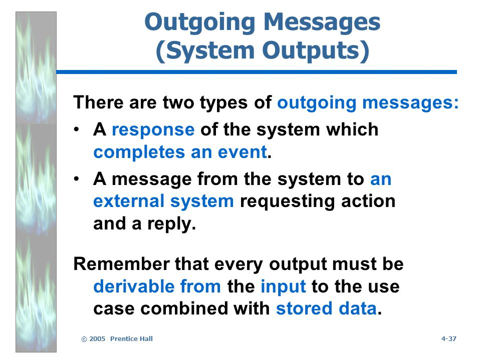 © 2005 Prentice Hall4-37 Outgoing Messages (System Outputs) There are two types of outgoing messages: A response of the system which completes an event.