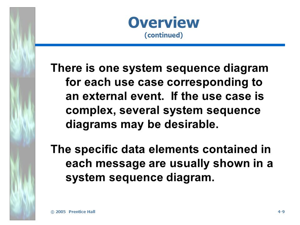 © 2005 Prentice Hall4-9 Overview (continued) There is one system sequence diagram for each use case corresponding to an external event.