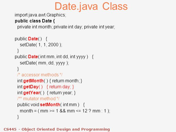 CS445 - Object Oriented Design and Programming  Java