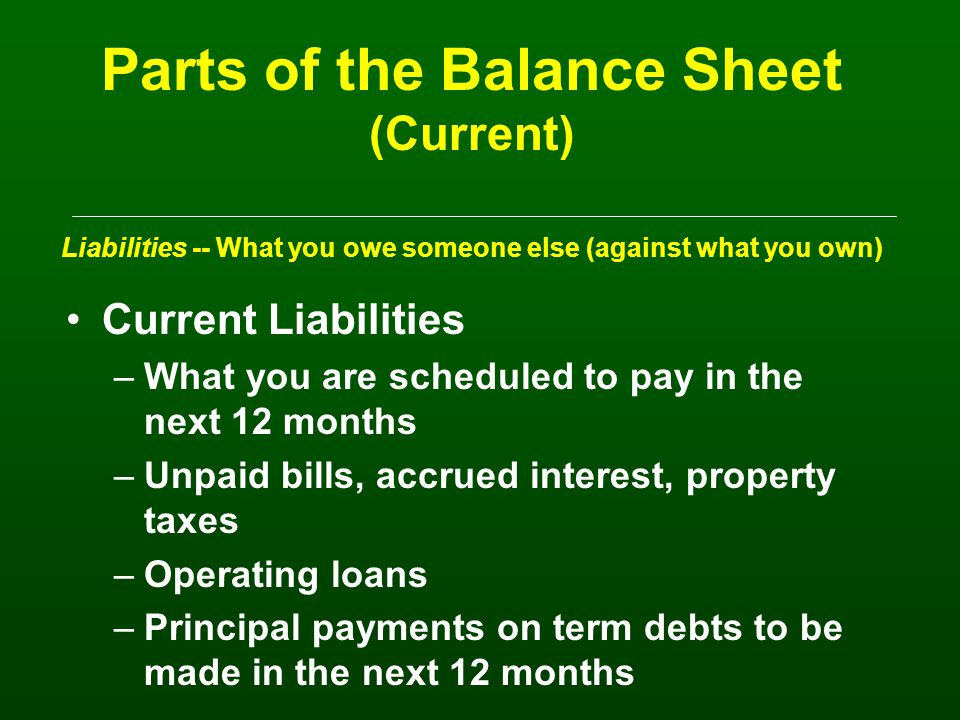 Current liabilities (<1 year) –To pay in the next 12 months e.g.