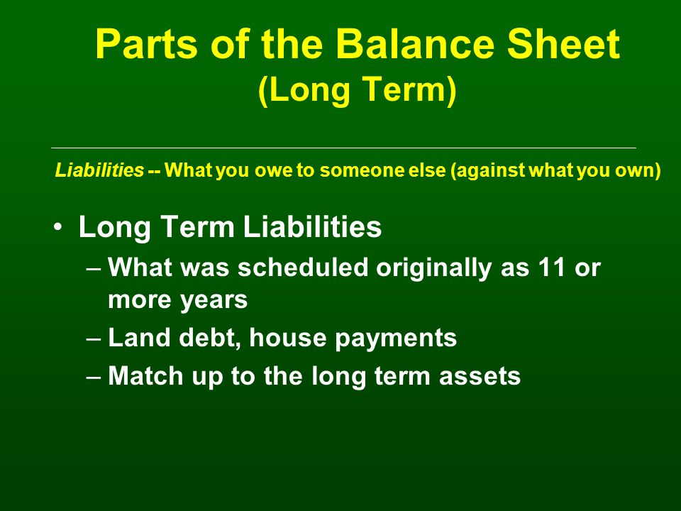 Parts of the Balance Sheet (Intermediate) Liabilities -- What you owe to someone else (against what you own) Intermediate Liabilities –What is scheduled to be paid in 1 to 10 years (subtract out the current position) –Typically, machinery loans, breeding livestock, special use buildings –Match up to the intermediate assets