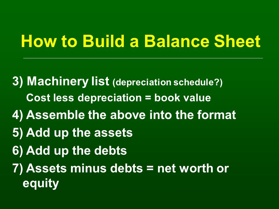 How to Build a Balance Sheet 1) Do a count: Crops: bushels, tons, etc.