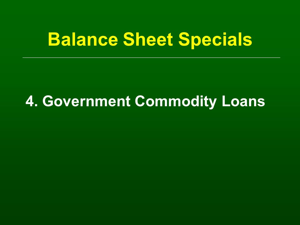Balance Sheet Specials 3.Leased Items (tractors, pickups, buildings) Assets: A) On user's balance sheet = lease payments due Liabilities B) On user's balance sheet = lease payments due