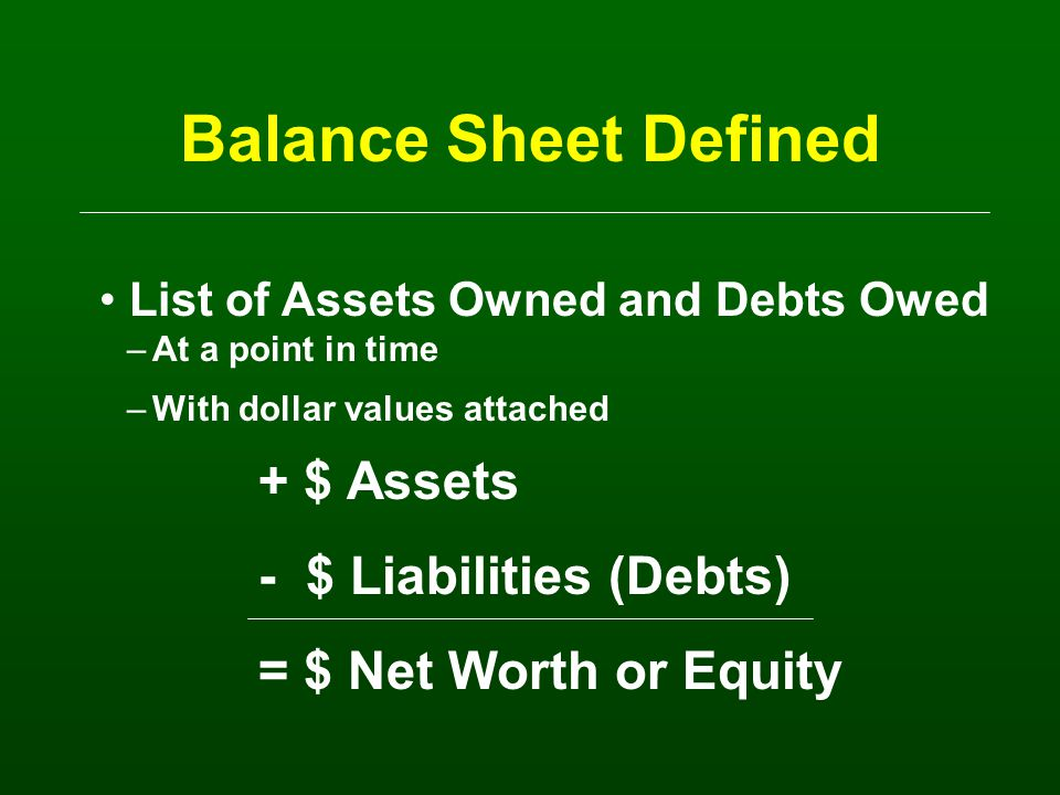 Balance Sheet Purpose Determines solvency of business