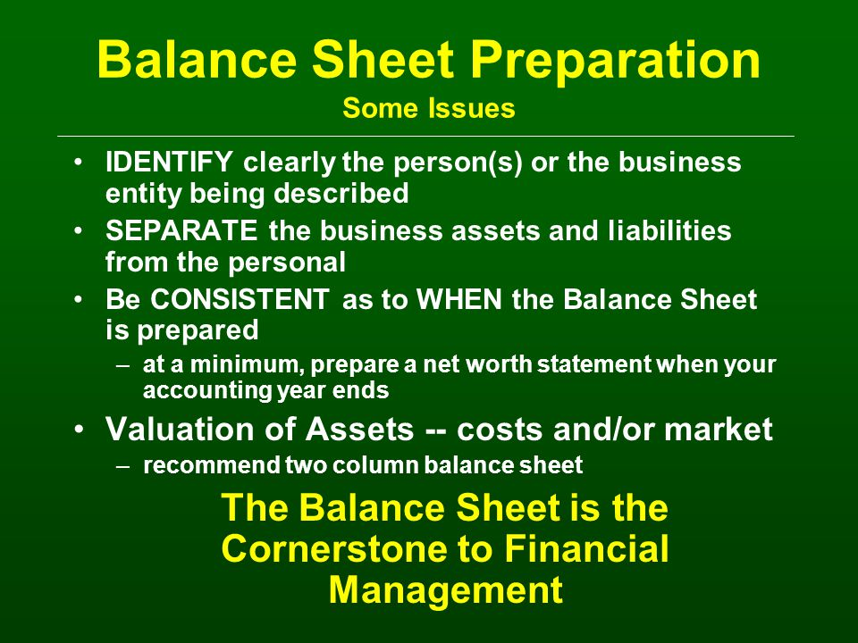The Balance Sheet Name -- What does this represent.