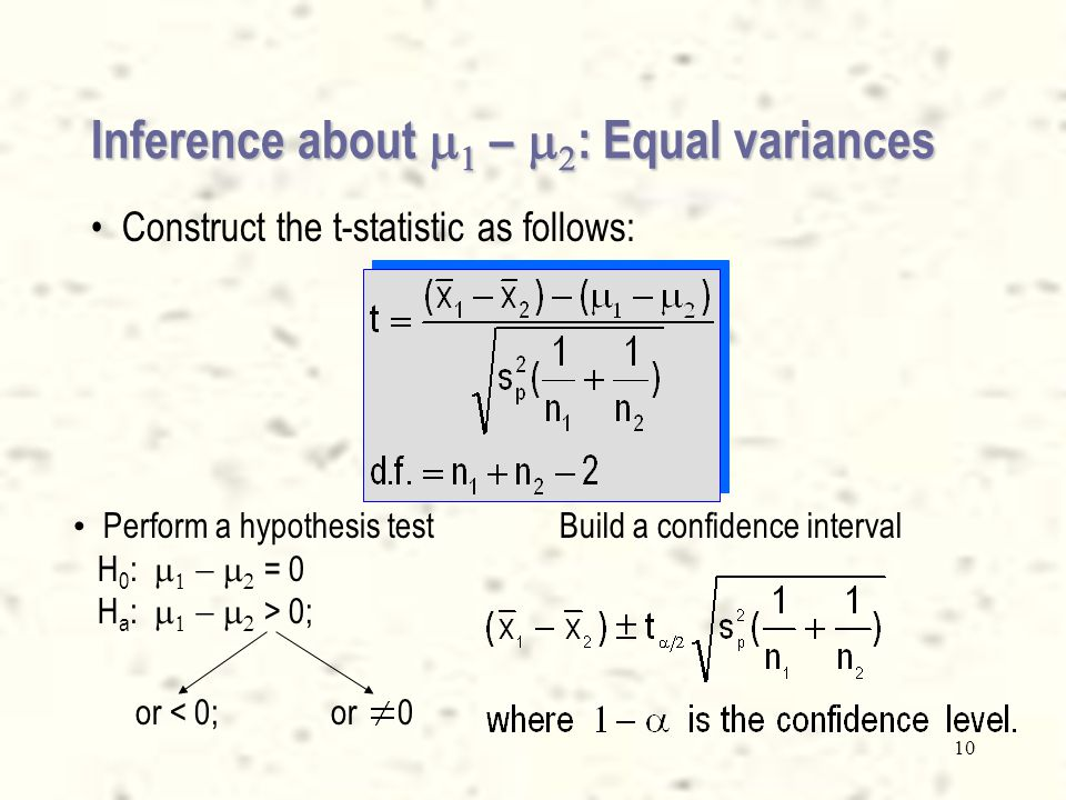 9 Inference about    –   : Equal variances Example: S 1 2 = 25; S 2 2 = 30; n 1 = 10; n 2 = 15.