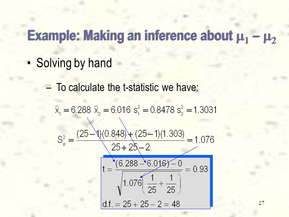 26 Example: Making an inference about    –   Solving by hand – –The hypotheses test is: H 0 : (  1 -  2 )  0 H 1 : (  1 -  2 )  0 – –To check the relationship between the two variances we calculate the value of S 1 2 and S 2 2 (Xm13-02.xls).Xm13-02.xls – – We have S 1 2 = , and S 2 2 =