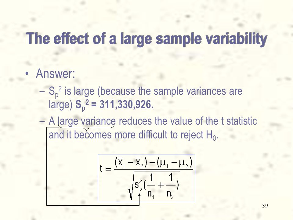 38 Question –The difference between the sample means is – = 5,201.