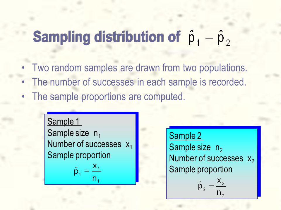 62 Parameter tested and statistic Parameter –When the data is nominal, we can only count the occurrences of a certain event in the two populations, and calculate proportions.