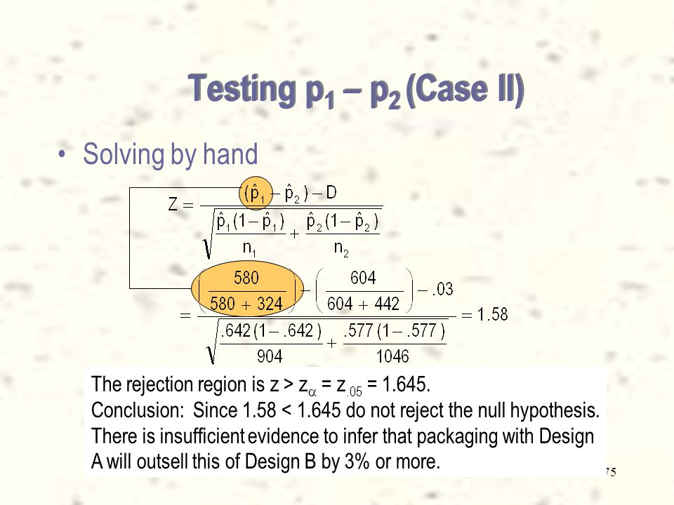 74 Solution –The hypotheses to test are H 0 : p 1 - p 2 =.03 H 1 : p 1 - p 2 >.03 –We identify case 2 of the test for difference in proportions (the difference is not equal to zero).
