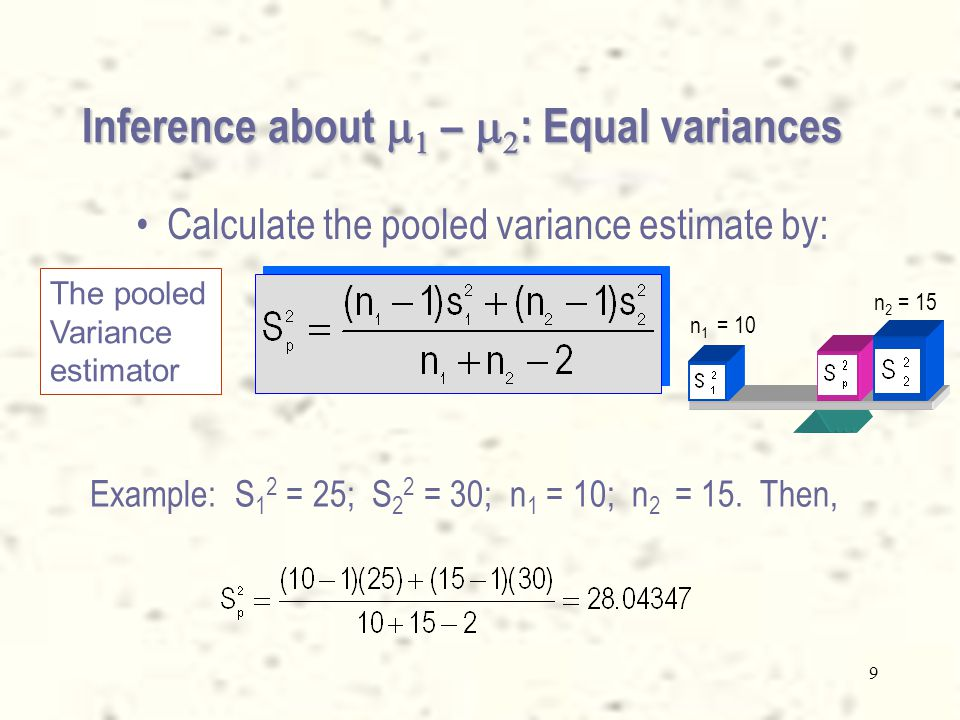8 Inference about    –   : Equal variances Example: S 1 2 = 25; S 2 2 = 30; n 1 = 10; n 2 = 15.