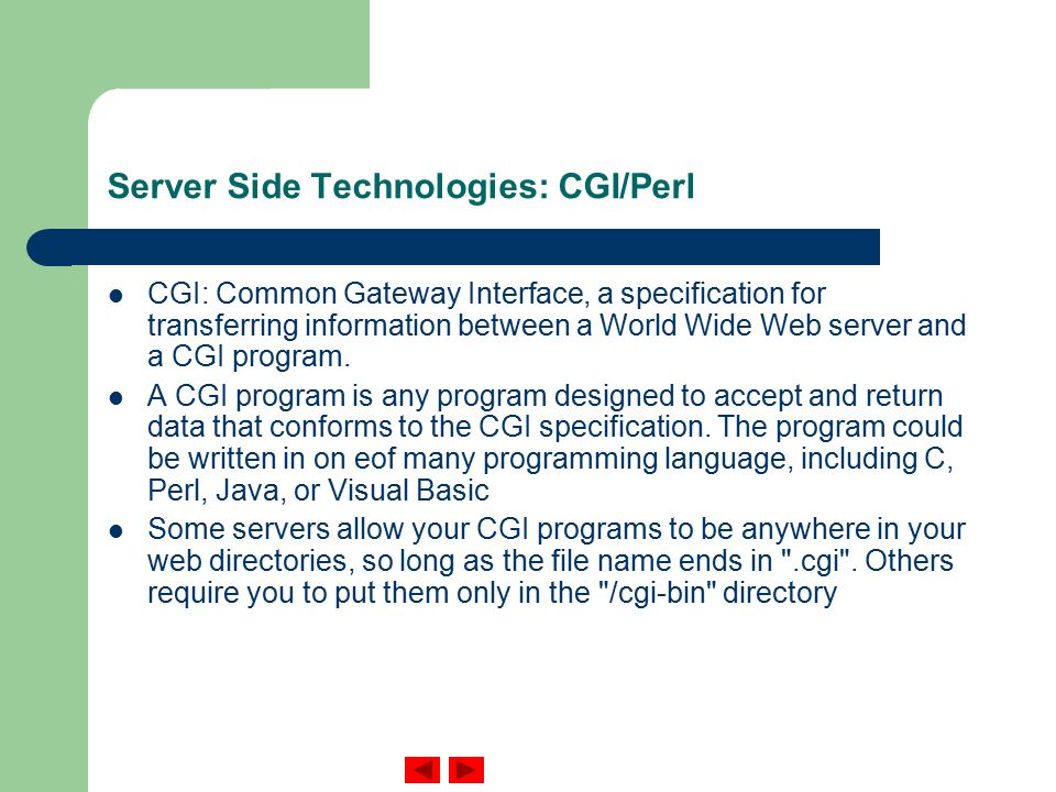 Server Side Technologies: CGI/Perl CGI: Common Gateway Interface, a specification for transferring information between a World Wide Web server and a CGI program.