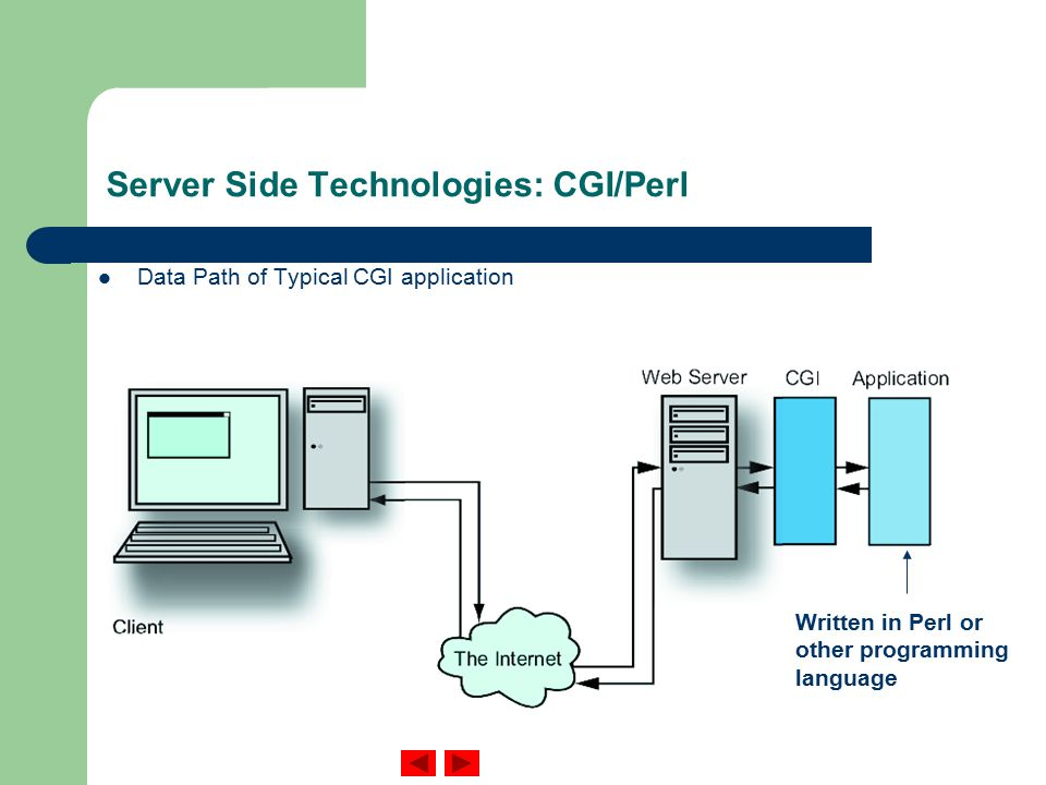 Server Side Technologies: CGI/Perl Data Path of Typical CGI application Written in Perl or other programming language