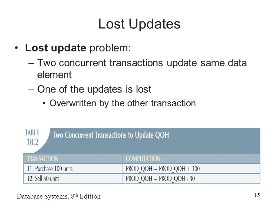 Database Systems, 8 th Edition 15 Lost Updates Lost update problem: –Two concurrent transactions update same data element –One of the updates is lost Overwritten by the other transaction