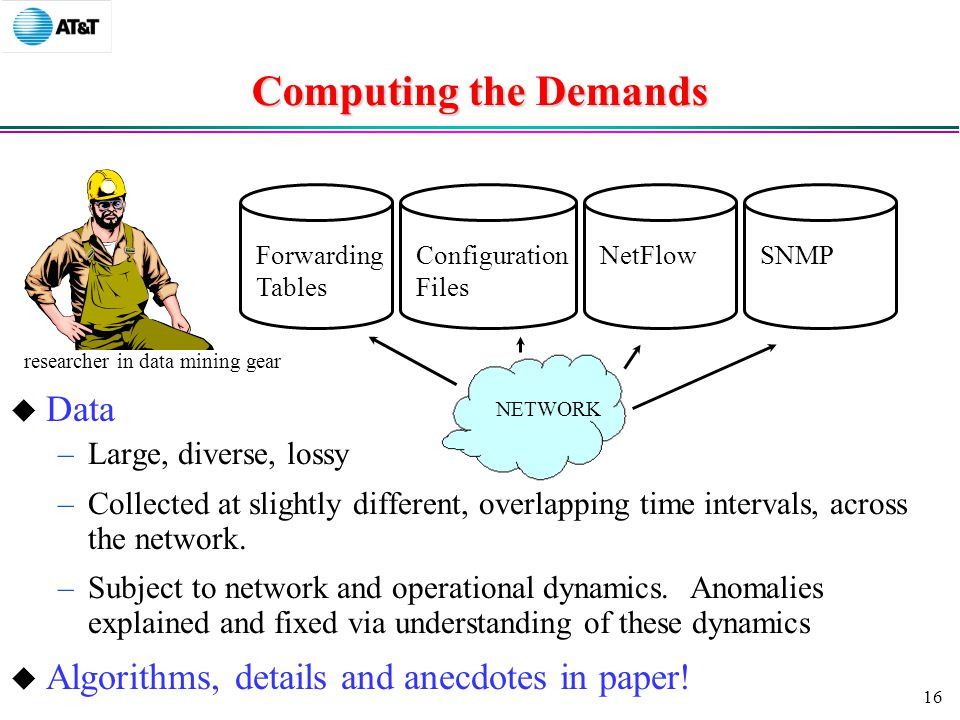 16 Forwarding Tables Configuration Files NetFlowSNMP Computing the Demands  Data –Large, diverse, lossy –Collected at slightly different, overlapping time intervals, across the network.