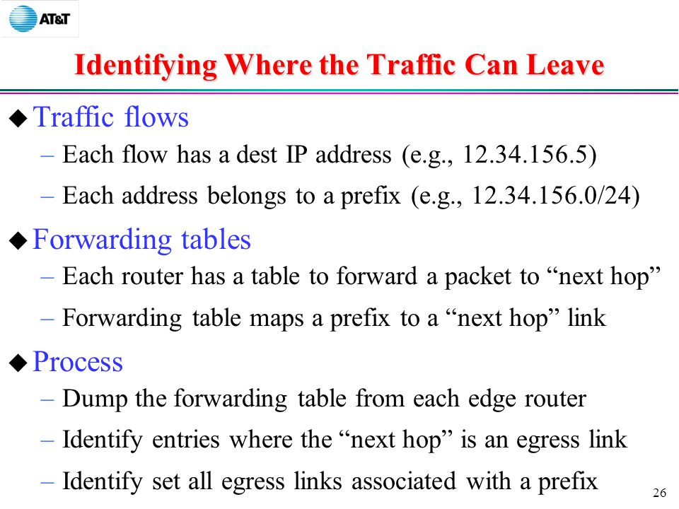 26 Identifying Where the Traffic Can Leave  Traffic flows –Each flow has a dest IP address (e.g., ) –Each address belongs to a prefix (e.g., /24)  Forwarding tables –Each router has a table to forward a packet to next hop –Forwarding table maps a prefix to a next hop link  Process –Dump the forwarding table from each edge router –Identify entries where the next hop is an egress link –Identify set all egress links associated with a prefix
