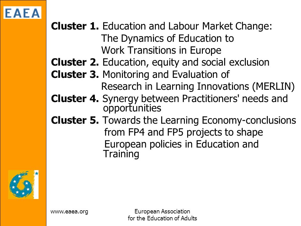 Association for the Education of Adults Cluster 1.