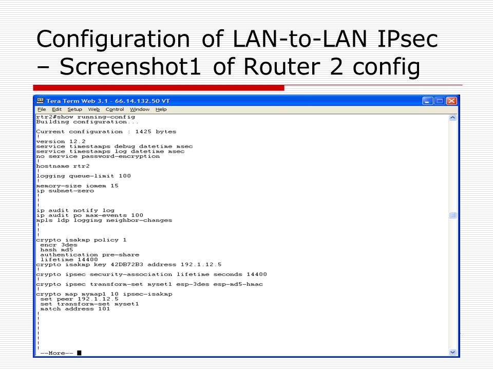 Configuration of LAN-to-LAN IPsec – Screenshot1 of Router 2 config