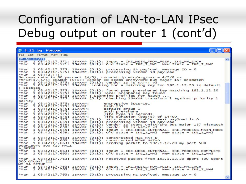 Configuration of LAN-to-LAN IPsec Debug output on router 1 (cont'd)