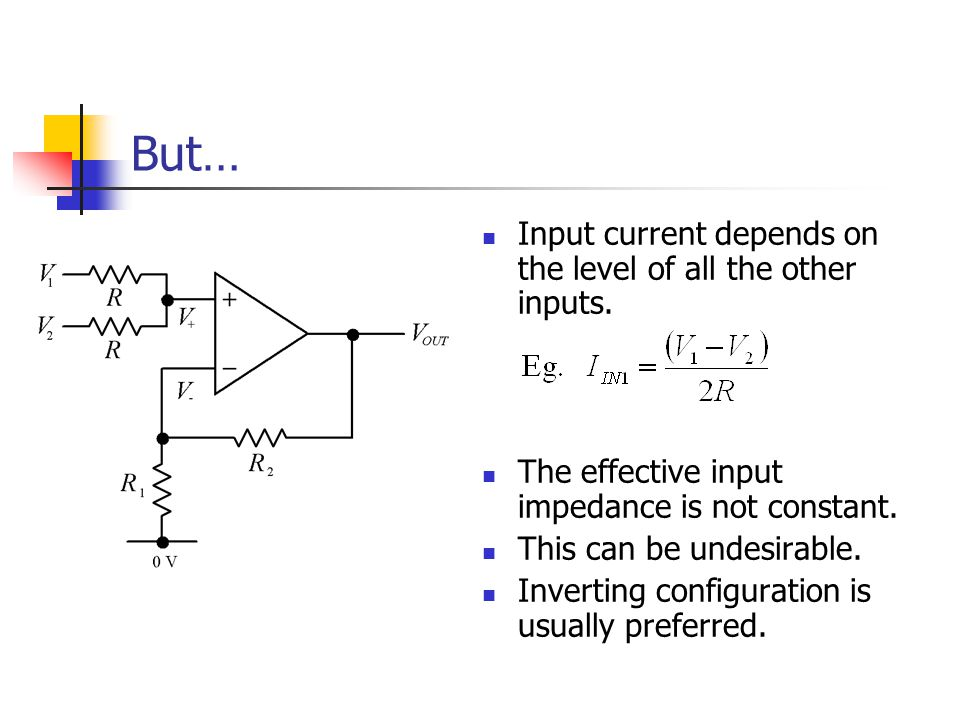 But… Input current depends on the level of all the other inputs.