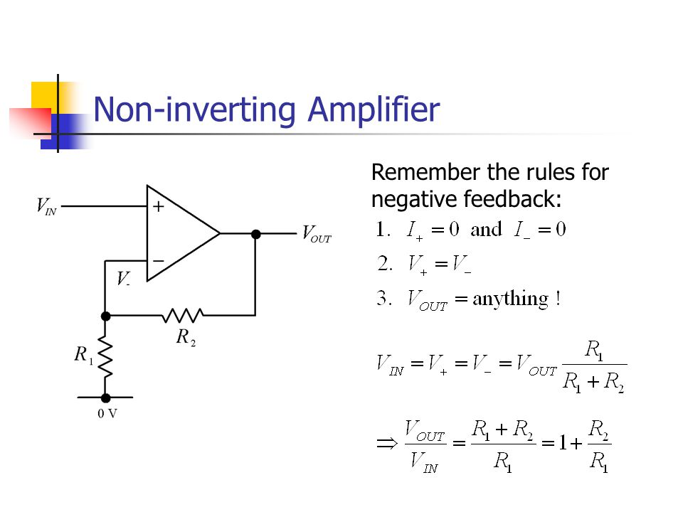 Non-inverting Amplifier Remember the rules for negative feedback: