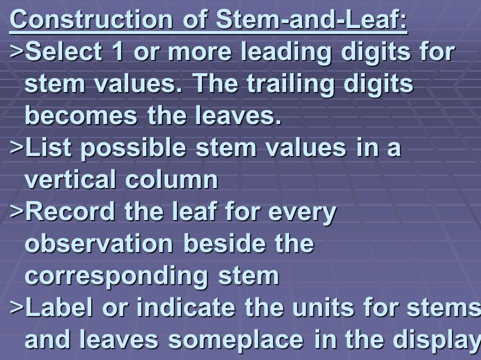 Construction of Stem-and-Leaf: >Select 1 or more leading digits for stem values.