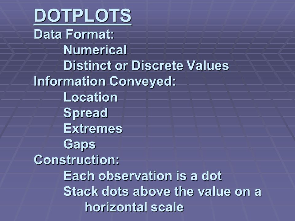 DOTPLOTS Data Format: Numerical Distinct or Discrete Values Information Conveyed: Location Spread Extremes Gaps Construction: Each observation is a dot Stack dots above the value on a horizontal scale