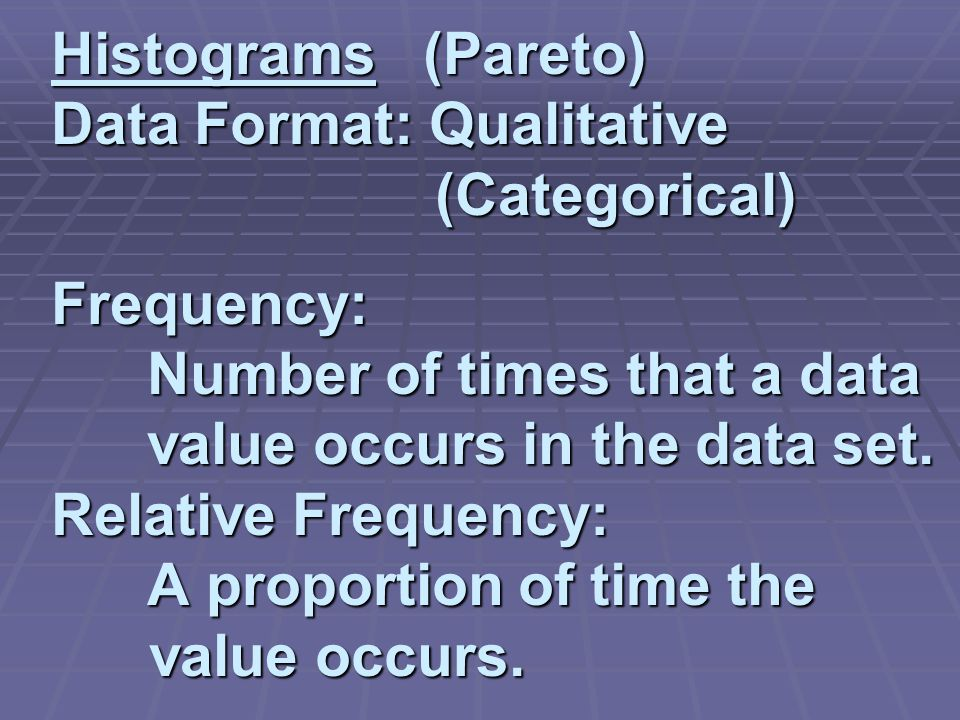 Histograms (Pareto) Data Format: Qualitative (Categorical) Frequency: Number of times that a data value occurs in the data set.