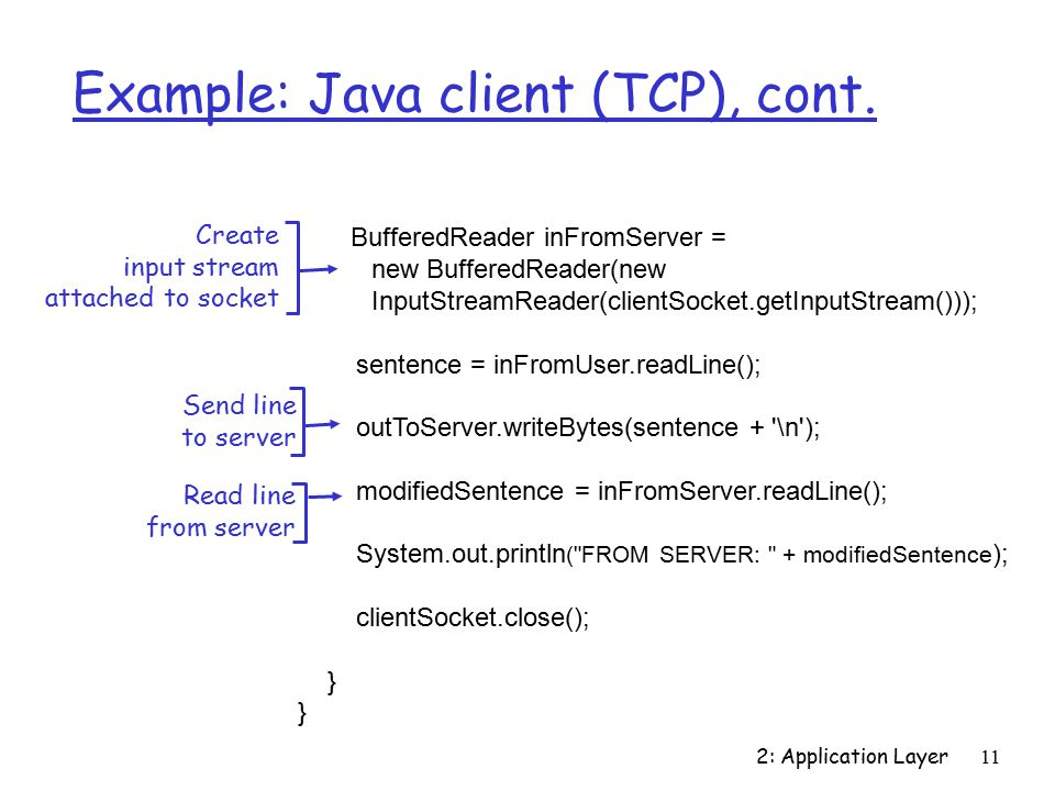 2: Application Layer11 Example: Java client (TCP), cont.