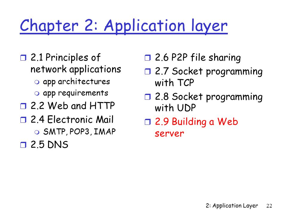 2: Application Layer22 Chapter 2: Application layer r 2.1 Principles of network applications m app architectures m app requirements r 2.2 Web and HTTP r 2.4 Electronic Mail m SMTP, POP3, IMAP r 2.5 DNS r 2.6 P2P file sharing r 2.7 Socket programming with TCP r 2.8 Socket programming with UDP r 2.9 Building a Web server