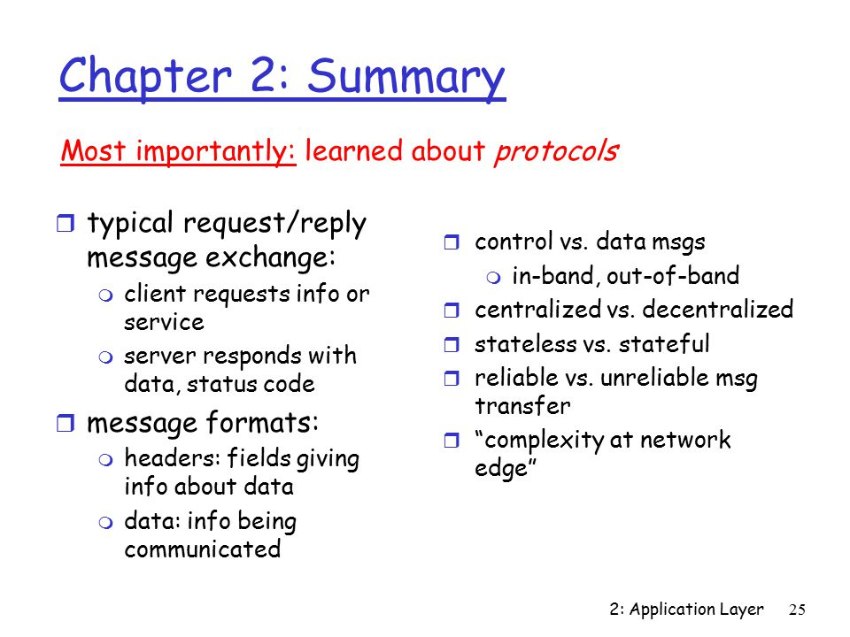 2: Application Layer25 Chapter 2: Summary r typical request/reply message exchange: m client requests info or service m server responds with data, status code r message formats: m headers: fields giving info about data m data: info being communicated Most importantly: learned about protocols r control vs.
