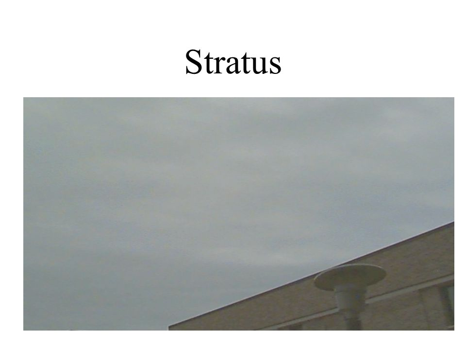 Stratus Uniform, thick to thin layered clouds Below 6,000 feet