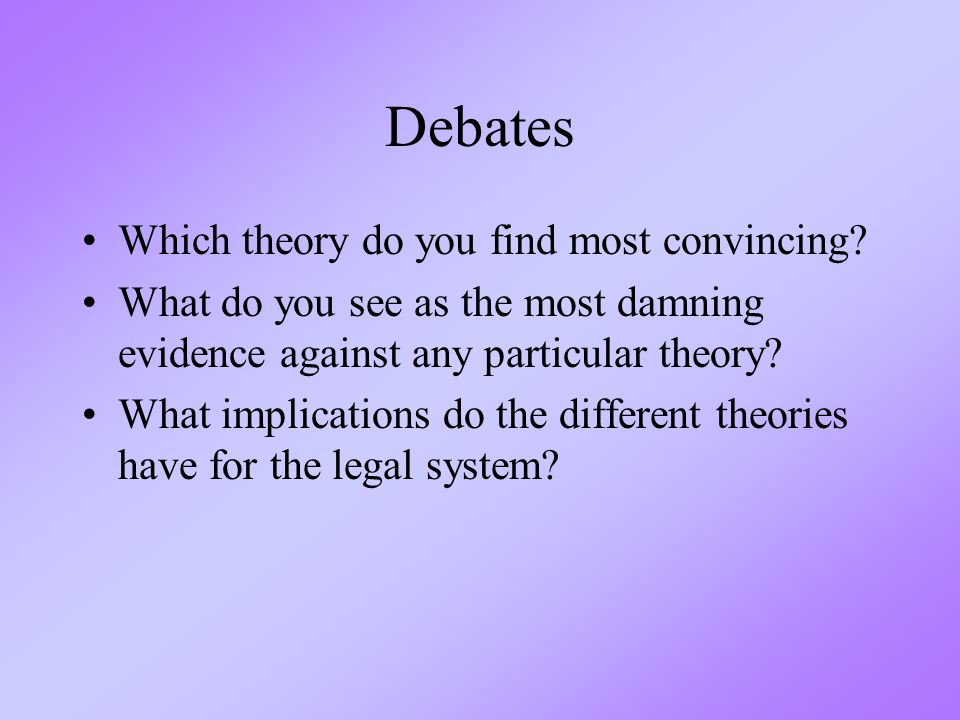 Debates Which theory do you find most convincing.