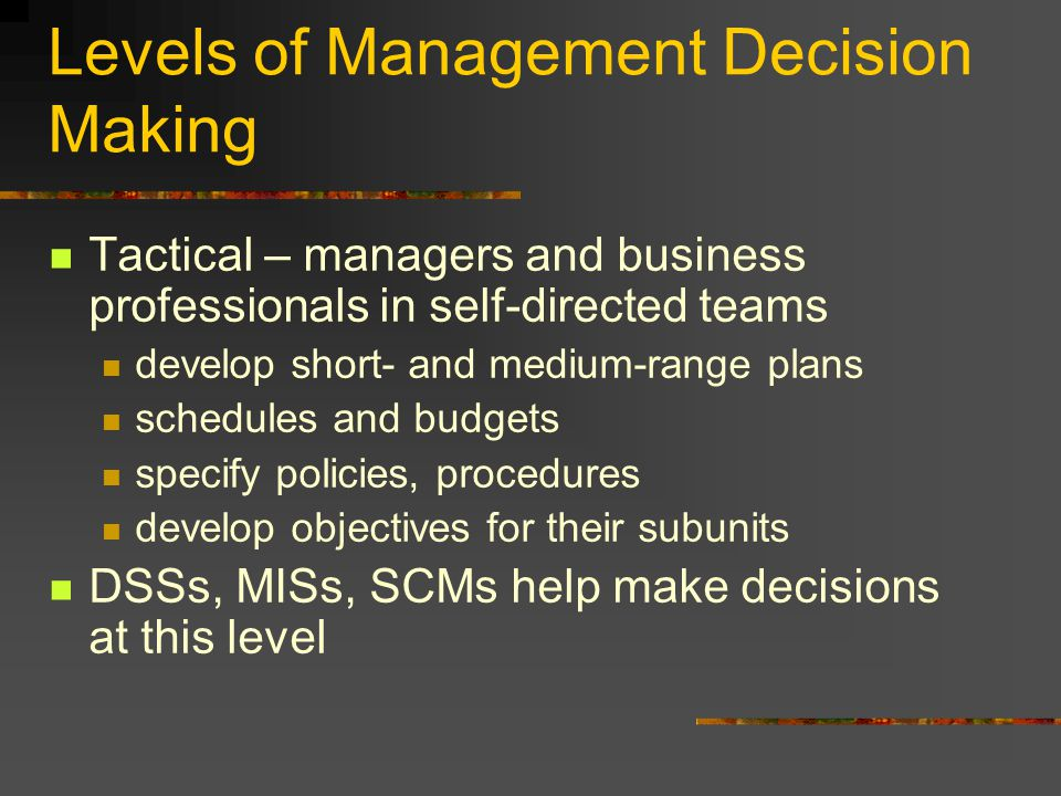 Levels of Management Decision Making Tactical – managers and business professionals in self-directed teams develop short- and medium-range plans schedules and budgets specify policies, procedures develop objectives for their subunits DSSs, MISs, SCMs help make decisions at this level