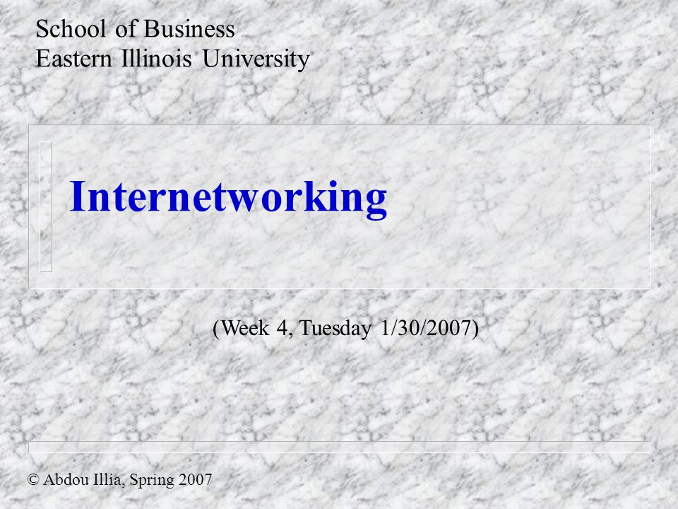 Internetworking School of Business Eastern Illinois University © Abdou Illia, Spring 2007 (Week 4, Tuesday 1/30/2007)