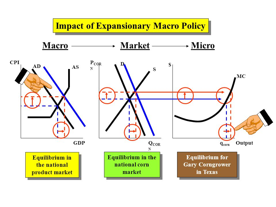 MacroMarketMicro AD AS CPI GDP P COR N Q COR N $ Output D S Impact of Expansionary Macro Policy Equilibrium in the national product market Equilibrium in the national corn market Equilibrium for Gary Corngrower in Texas Equilibrium for Gary Corngrower in Texas q corn MC
