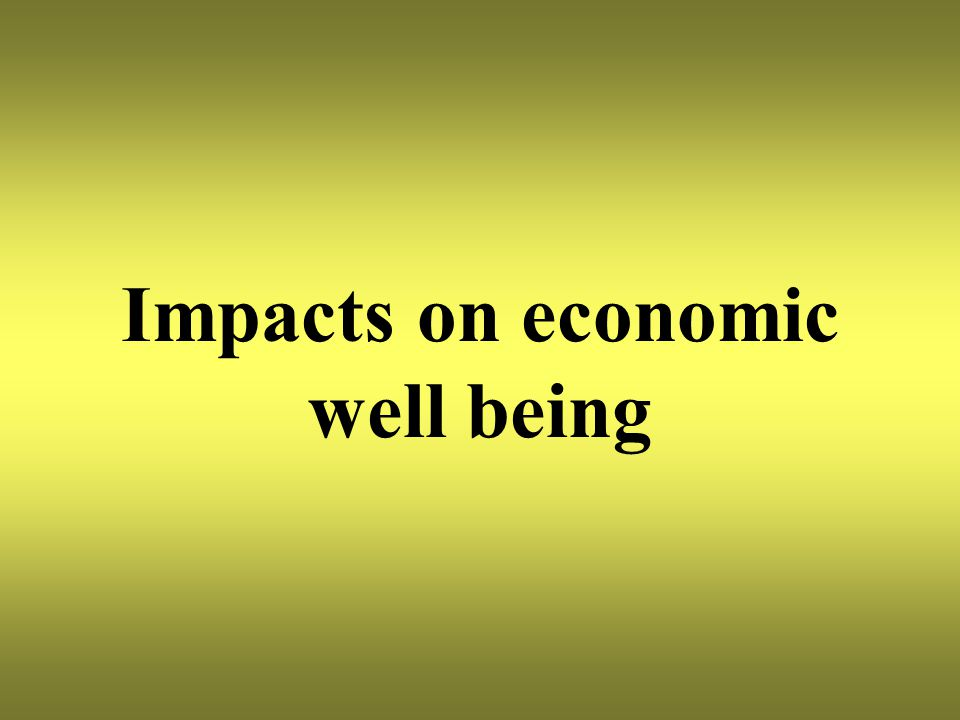 Impacts on economic well being