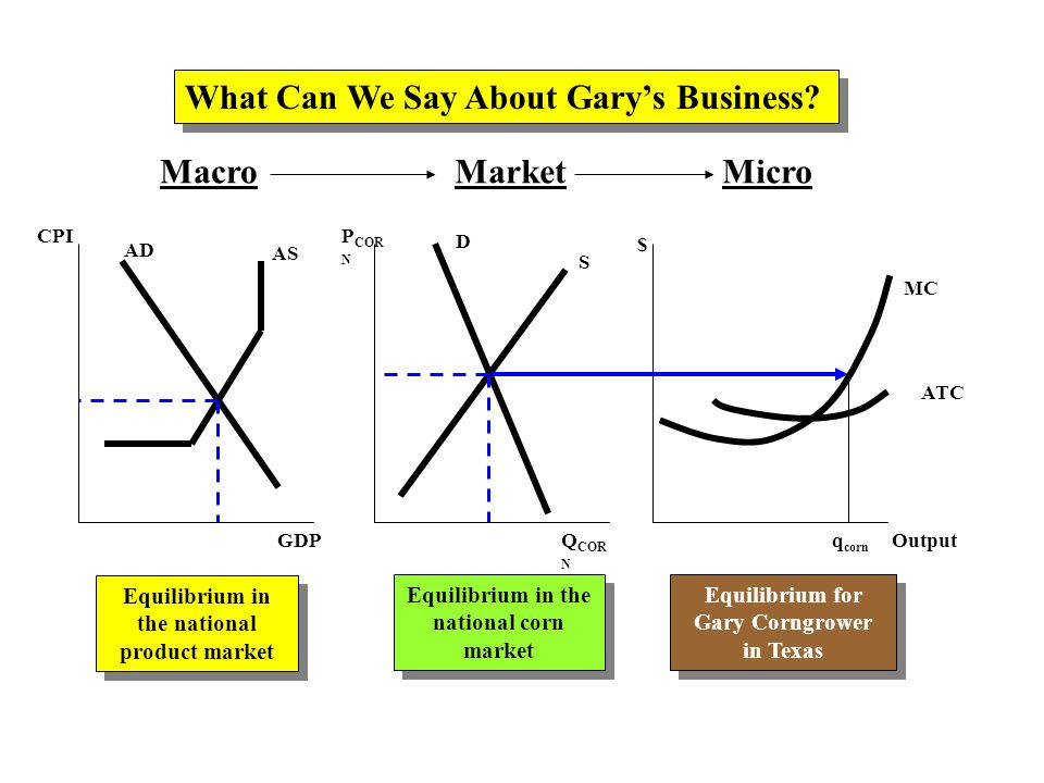 MacroMarketMicro AD AS CPI GDP P COR N Q COR N $ Output D S MC What Can We Say About Gary's Business.