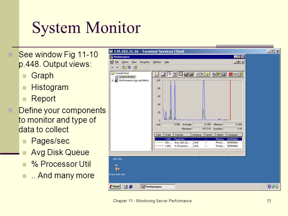 Chapter 11 - Monitoring Server Performance13 System Monitor See window Fig p.448.