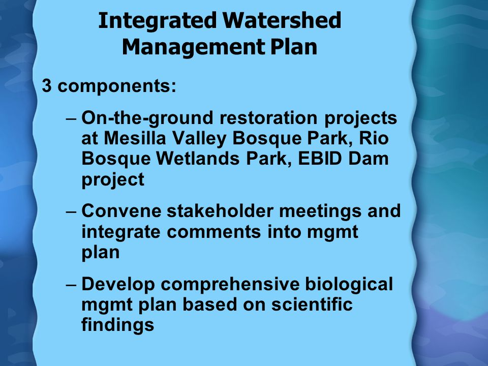 Integrated Watershed Management Plan 3 components: –On-the-ground restoration projects at Mesilla Valley Bosque Park, Rio Bosque Wetlands Park, EBID Dam project –Convene stakeholder meetings and integrate comments into mgmt plan –Develop comprehensive biological mgmt plan based on scientific findings
