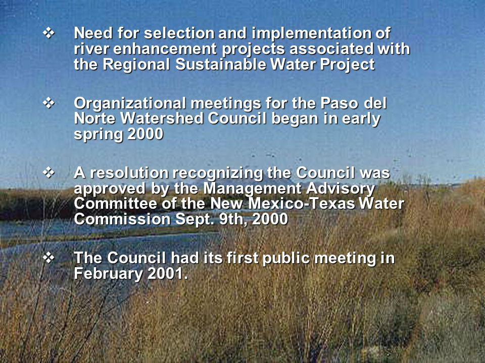  Need for selection and implementation of river enhancement projects associated with the Regional Sustainable Water Project  Organizational meetings for the Paso del Norte Watershed Council began in early spring 2000  A resolution recognizing the Council was approved by the Management Advisory Committee of the New Mexico-Texas Water Commission Sept.